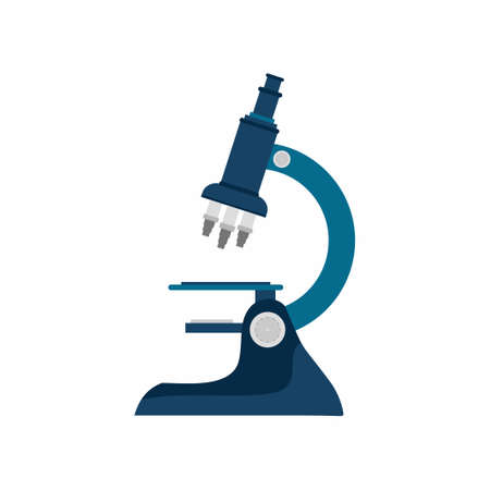 Vector flat style of microscope icons. Chemistry laboratory abstract design with equipment isolated on white background. Concept of scientific research, laboratory equipment and optical tool