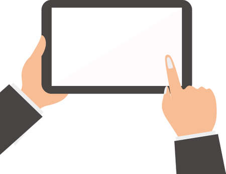 The businessman hands holding the tablet and touching at a blank screen. Using digital tablet pc similar to ipad concept. Flat design style vector illustration for web banner, web site, infographics
