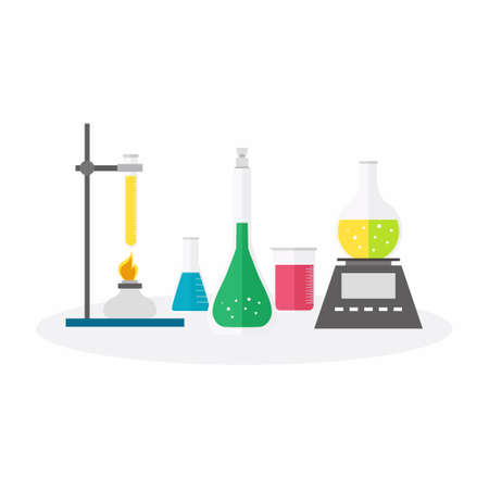 Flat design vector illustration concept of chemistry experiment. Chemical research equipment on white background. Laboratory lab with alembic vial hourglass dropper, erlenmeyer and reaction tube