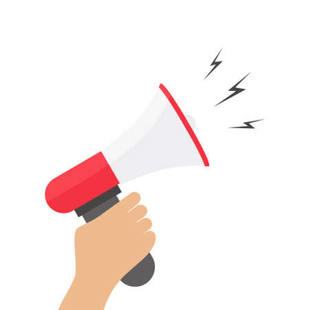 Flat design stylish vector illustration hand holding megaphone. The concept of promotion and advertising in stylish colors of web design objects, business, office and marketing items