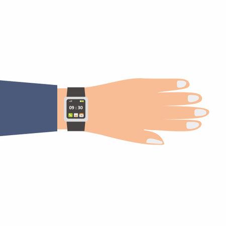 A businessman hand wearing classical and sport hand watches. Time clock, wrist watch sport and fashion gadget concept. Modern technology equipment in cartoon design. Flat vector design illustration 矢量图像