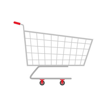 Trolly flat icons. An empty supermarket shopping cart vector illustration isolated on white background. Basket for supermarket, trolley retail metallic pushcart cartoon style. Grocery shop theme 矢量图像