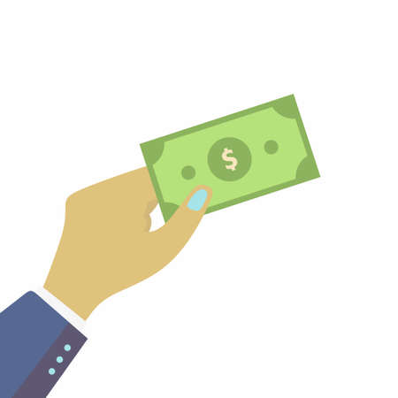 Human hands holding money paper design in flat style. Businessman pay with money cash. Investment, marketing, saving concepts isolated on white background. Modern vector illustration
