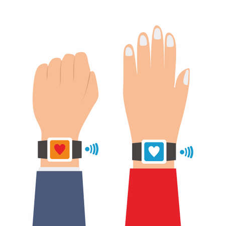 Two hands wear fitness sport tracker bracelet in flat vector illustration. Fitness human's hand wearing smartwatch in cartoon design idea. Healthy life concept isolated on white background