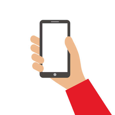 Hand holding black smartphone and showing blank screen isolated on white background. Using mobile smart phone for shopping online concept. Flat cartoon style. Vector design element illustration 矢量图像