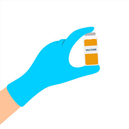 Doctor or scientist hands wearing rubber gloves holding a vaccine bottle. Antivirus or anti-bacterial. Against corona virus concept. Flat cartoon style. Vector design element illustration