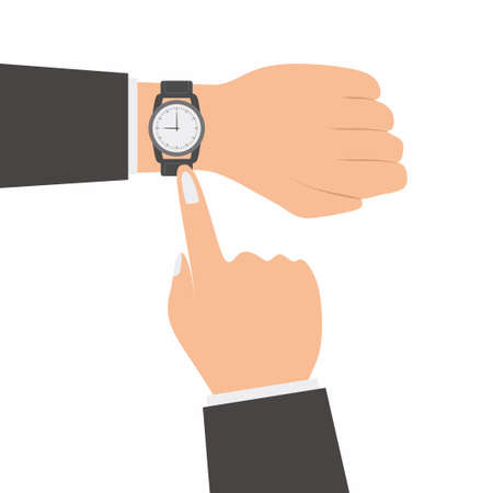 Human hands with watch flat cartoon icons style. A male hand uses a watch while showing the time on his watch isolated on white background. Time management concept. Vector design elements