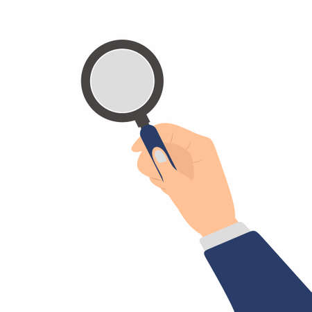Human hand holding magnifying glass isolated on white background. Analysis, exploration, finding, zoom, scrutiny, audit, inspection concept. Flat cartoon design element vector illustration
