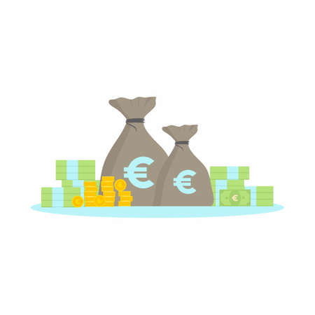 Flat dollar icons. Cartoon dollar banknotes isolated on white background. The concept of money such as coins, banknotes and money bags. Vector investment business finance icon illustration