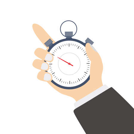 Flat design a professional businessman hand holding stopwatch vector abstract template illustration. Time management concept. Modern flat cartoon design isolated on white background.