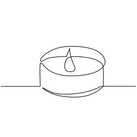 Candle one continuous line drawing. Burning aromatic lighted candles in cup isolated on white background. The concept of beauty spa or salon for relaxing hand-drawn line art minimalism design 矢量图像