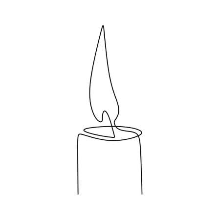 One continuous line drawing of candle lighted. Burning fire and melting candle isolated on white background. Light in the dark concept black outline design. Minimalism style. Vector illustration