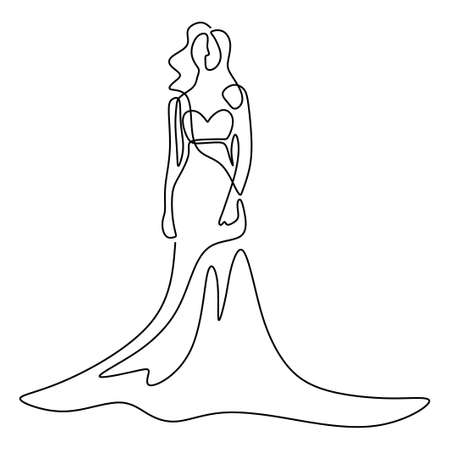 Beauty woman model wearing sexy gown. One continuous line drawing woman in elegant dress standing pose and look so pretty isolated on white background. Female fashion dress concept
