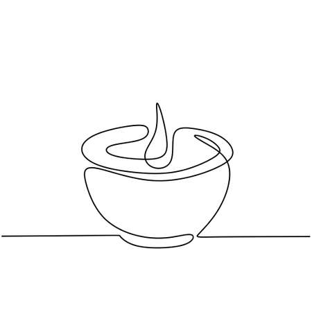 Candle one continuous line drawing. Burning aromatic lighted candles in cup isolated on white background. The concept of beauty spa or salon for relaxing hand-drawn line art minimalism design