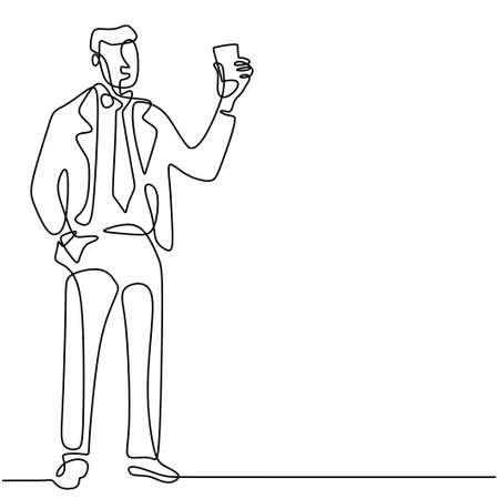 Businessman holds a business card or credit card one continuous line drawing on white background. Young officer man in suit pay for his shopping using a credit card. Purchase with cashless concept