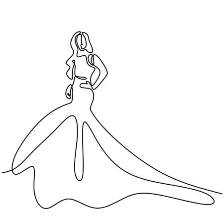 Continuous one line drawing of woman with gown. Beauty female model wearing dress and look so elegant while standing pose. Girl fashion concept line art minimal design isolated on white background