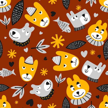 Cute pattern animals cartoon. Funny teddy bear, fish and dog with love, flowers and leaf in cartoon character. Vector seamless pattern illustration for kids, apparel, wallpaper, fabric print