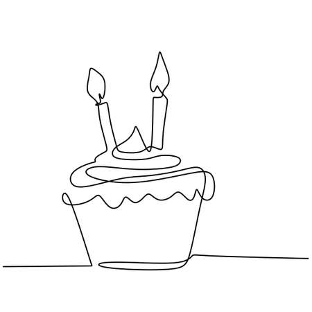 Birthday cupcake with candle one continuous line drawing isolated on white background. Surprise birthday cake in minimalism design. Tasty and delicious concept. Vector illustration