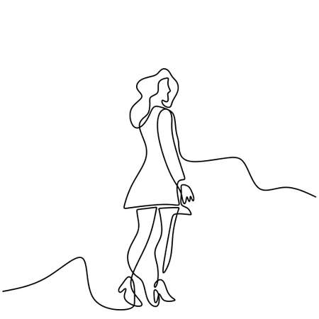 Continuous one line drawing of cheering woman in short dress. Happy young girl with long hair standing pose and wearing cute clothes. Character fashionable female. Vector minimalism design 矢量图像