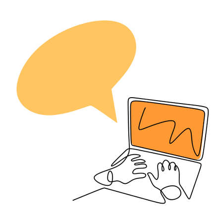 Continuous one line drawing of hand typing on laptop keyboard. A people using a computer to sharing multimedia content with friends online. Business and technology concepts. Vector illustration