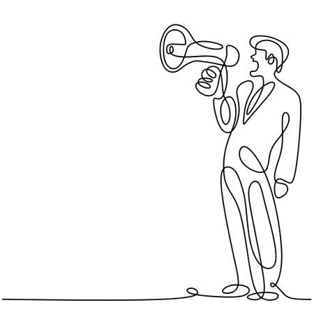Continuous one line drawn a man holding a loudspeaker and speak eagerness shouting loudly. The concept of announcement, warning, oratory, loud statement, publicity. Character male in public speaking