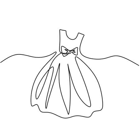 Continuous one line drawing of a beauty gown. Short dress party for girl hand-drawn line art minimalism design. Woman clothes concept isolated on white background. Vector illustration