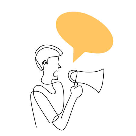 Continuous one line drawn a man holding a loudspeaker and speak with blank speech bubble. The concept of announcement, warning, oratory, loud statement, publicity. Character male in public speaking 矢量图像