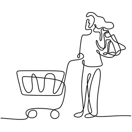 One continuous line drawing happy young women shopping together at super market and pushing trolley. Shopping in the market for daily needs. Monthly expenditure concept. Vector design illustration 矢量图像