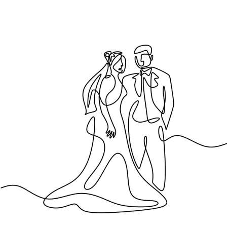 One continuous drawn line wedding. Characters of the bride and groom of the husband and wife are married isolated on white background. Bride, groom, couple, love, celebration, romantic concept