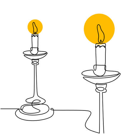 Continuous one line drawing of burning candle on vintage chandelier. Beautiful classic flame lantern minimalism design hand-drawn by a single line on a white background. Vector illustration