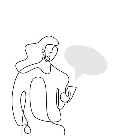 Continuous one line drawing of a woman holding smartphone. Beautiful woman standing and looking at her phone for chatting with speech bubble isolated on white background. Vector illustration 矢量图像