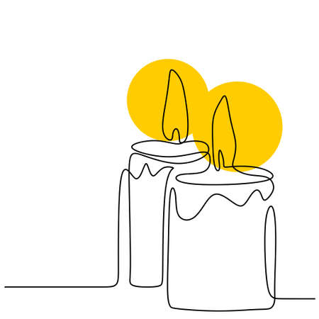Beautiful candles continuous one line drawing. Two candlelight burning and melting. Hand-drawn of a couple of candles minimalism design on white background. Isolated vector illustration