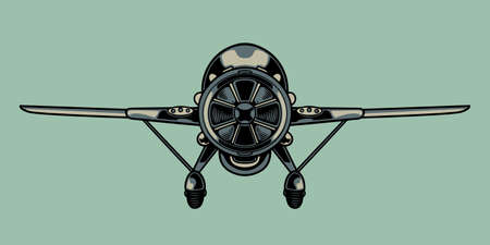 Vintage retro airplane. Hand sketched aviation illustration in engraving style. Old plane badges, design elements. Vector graphic, typographic poster, vintage, label, badge, logo, icon or t-shirt