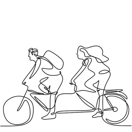 Continuous line drawing of young man and woman riding bicycles hand-drawn line art minimalism style on white background. Energetic male and female rides a bike. Healthy lifestyle concept