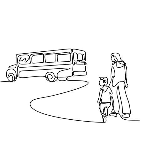 Continuous one line drawing of young mother takes her child to school bus. Happy little kid is standing with his mommy on the street. Back to school concept handdrawn line art minimalism design