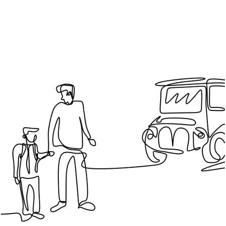 Continuous one line drawing of young father takes her child to school bus. Happy little kid is standing with his daddy on the street. Back to school concept handdrawn line art minimalism design