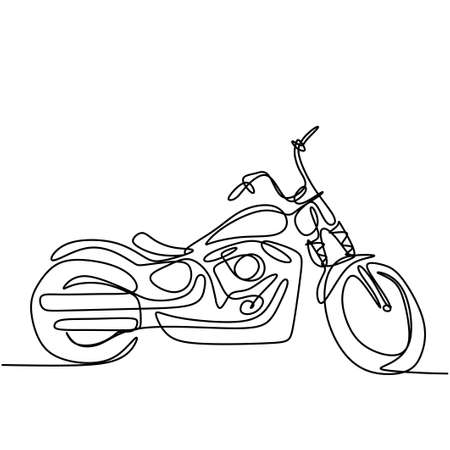 Continuous one line drawing of old classic vintage motorcycle. Cool retro motorbike isolated on white background. Antique motorcycle transportation concept in minimalist design. Vector illustration