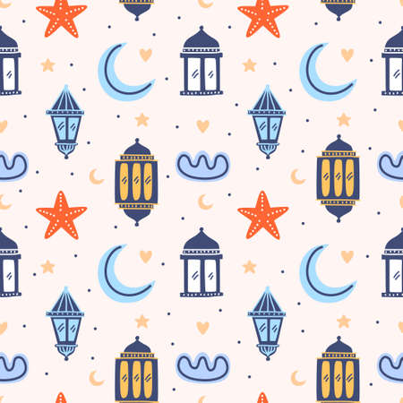 Set of Islamic background, suitable for ramadan or Eid al fitr with traditional lantern, star, half moon, mosque and clouds. Vector childish repeated cartoon character isolated on white background.