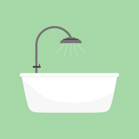 Shower taps and bathtub. Bathroom interior. Comfortable equipment for bathing and relaxing. Design modern bathroom vector flat cartoon illustration isolated on light green background