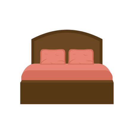 Double wooden bed in flat design for bedroom, hotel room. Cartoon furniture and equipment icon set isolated on white background. A place to sleep and relax. Apartment interior stuff.
