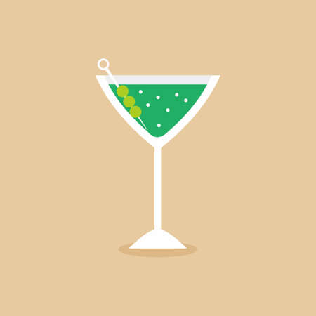 Glass for vermouth icon in flat style. Wineglass on pastel color background. A martini glass of alcohol cocktail. Elegant drink in green martini. Vector design elements for you business project 向量圖像
