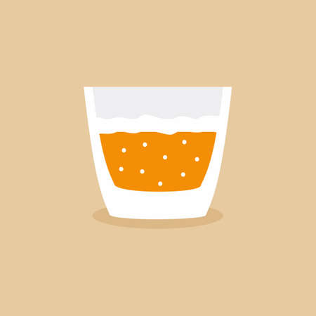 Cocktail in lowball glass flat cartoon design icon. Alcohol cold drink in orange fashioned glass. Champagne, vodka, wine, beer, cocktail in lowball glass. Vector illustration