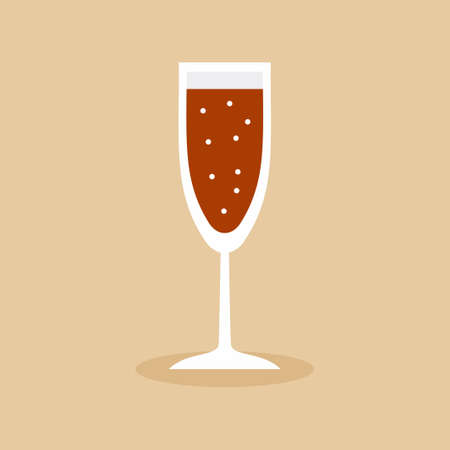 Flat icon a glass of alcoholic beverages. Champagne flutes narrow glasses filled with wine, brandy, cognac or whiskey. Alcohol beer lovers concept. Simple minimal vector illustration