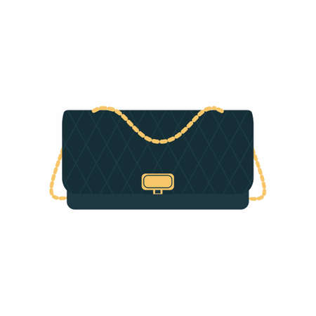 Vector flat icon of Quilted bag. Elegant classy black woman bag with gold chain strap. Fashionable female outfit accessories isolated on white background in cartoon style. Vector illustration Ilustración de vector