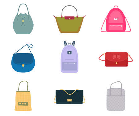 A set of women's bags, a fashionable bag with assortment color : handbag, back pack, tote bag, bucket. Trendy of different types isolated on white background. Flat design, vector illustration Ilustración de vector