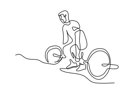 One continuous drawn weightlifter line art from the hand a picture of the silhouette. Weight lifting training concept. Character male athlete lifting barbell isolated on white background
