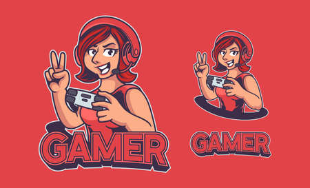Red woman mascot e-sport logo with headphone and holding joystick. Knight Woman e-sport logo isolated on red background. Beautiful gamer girl for e-sport gaming team. Vector illustration