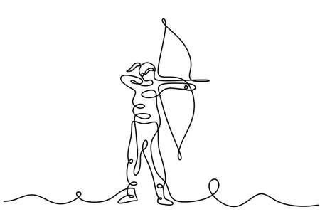 Continuous one line drawing of young energetic archer woman pulling the bow to shooting an archery target. A professional archer female focus to hit target hand drawn with minimalist design Vetores