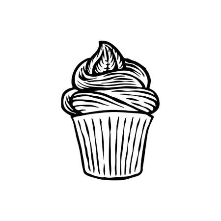 Vector cupcake hand drawn design. Doodle cakes with cream isolated on white background. Sweet dessert in vintage style. Great for print, coloring, logo for business or personal projects