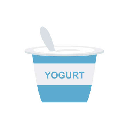 Flat vector illustration yoghurt cream icon. Colored yogurt cup with a spoon isolated on white background. Vector element can be used for cream, yogurt, custard design concept in cartoon style.